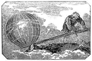 """Give me a place to stand, and I shall move the Earth with it"" – Archimedes. Illustration: Mechanics Magazine, London, 1824"
